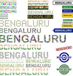 Bengaluru text design set vector