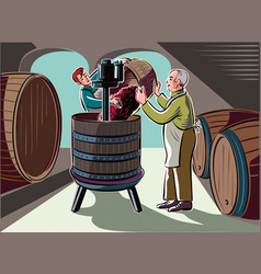 Cellar with big barrels a young man pays of ripe vector