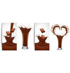 Chocolate milk flowing and splash creating heart vector