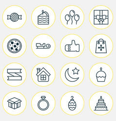 Christmas icons set collection of birthday cake vector