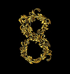 Decorated eight digit on black vector