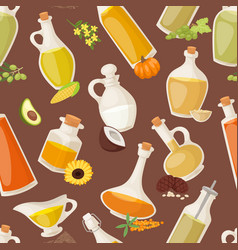 different food oil in bottles seamless pattern vector image vector image
