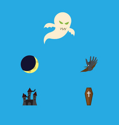 flat icon halloween set of crescent fortress vector image