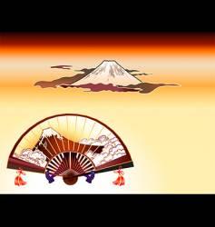 Fuji-san folding fan vector