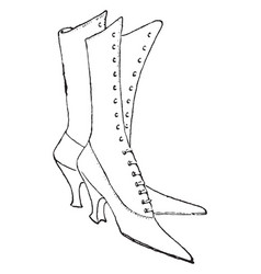 Lace-up shoes design are knee length vintage vector