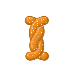Letter i pretzel snack font symbol food alphabet vector