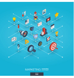 Marketing integrated 3d web icons digital network vector