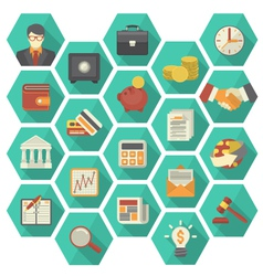Modern Flat Financial and Business Icons Hexagon vector image