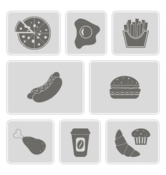 monochrome icon set with fast food vector image vector image