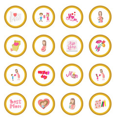 mother day cartoon icon circle vector image