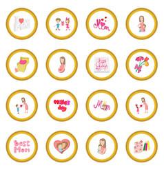Mother day cartoon icon circle vector