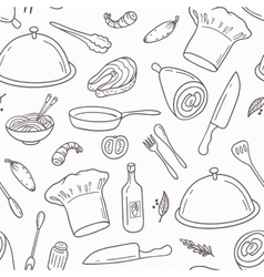 Outline seamless pattern with hand drawn food vector image vector image