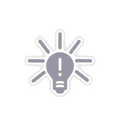 Paper sticker on white background light bulb idea vector