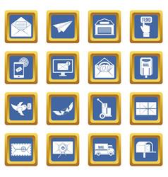 poste service icons set blue vector image