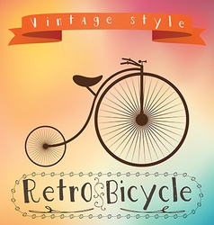 Retro bicycle on colorfull background text in vector