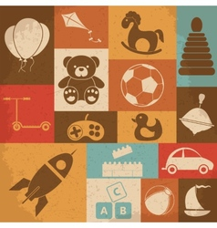Retro children toys icon set vector image