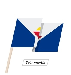Saint-martin ribbon waving flag isolated on white vector