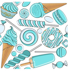Seamless pattern with blue and white sweets vector