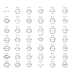 Set isolated fashion sketch lips Women monochrome vector image vector image