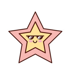 Star decorative kawaii character vector