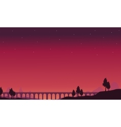 View of the long bridge silhouettes vector
