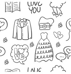 Wedding hand draw style doodles vector