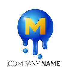 m letter splash logo blue dots and bubbles letter vector image
