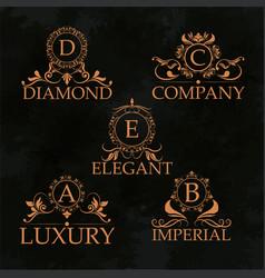 Luxury emblem monogram elegant golden calligraphic vector