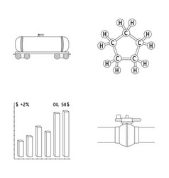 Railway tank chemical formula oil price chart vector