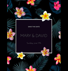Tropical wedding invitation design with orchid vector