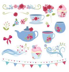 floral tea party vector image