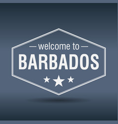 Welcome to barbados hexagonal white vintage label vector