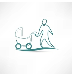 Father with stroller icon vector