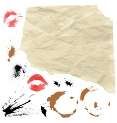 Piece of Old paper and design grunge elements vector image