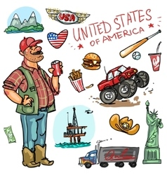Travelling attractions - united states vector