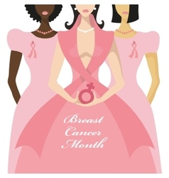 Breast cancer awarenessthree international woman vector