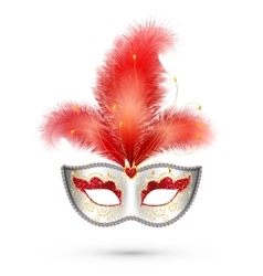 Silver carnival mask with red glitter decoration vector