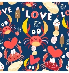 Seamless jolly pattern with crabs in love vector