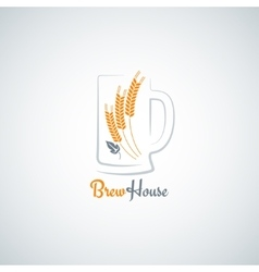 Beer mug barley design background vector