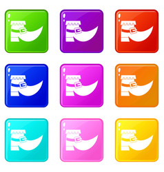 Boot with buckle icons 9 set vector