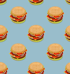 Burger pattern Sandwich of patties and cut roll vector image vector image