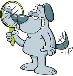 Cartoon dog holding a mirror vector image vector image
