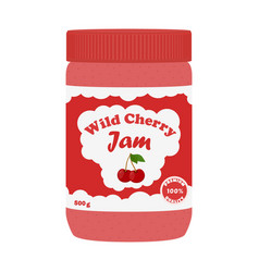Cherry jam in glass jarmade in cartoon flat style vector