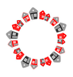 Circle frame of houses vector