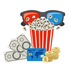 Color pop corn 3d glasses and money credit card vector