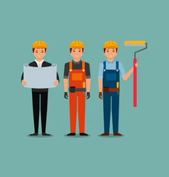 Construction workers egineer foreman blueprint and vector