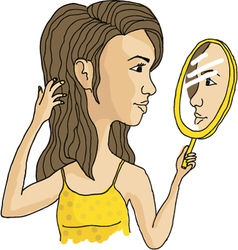 cosmetic mirror girl vector image vector image