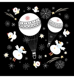 Festive balloons and snowmen vector
