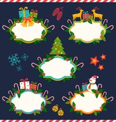 five christmas banners dark vector image vector image