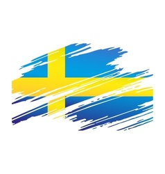 Flag Sweden in the form traces brush vector image